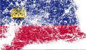 Flag of Liechtenstein with old texture. Vector — Stock Vector