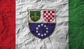 Flag of Bosnia and Herzegovina Federation with old texture. Vector — Stock Vector