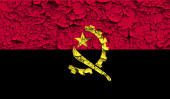 Flag of Angola with old texture. Vector — Stock Vector
