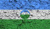 Flag of Kabardino-Balkaria with old texture. Vector — Stock Vector