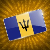 Flag of Barbados with old texture. Vector — Stock Vector