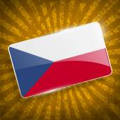 Flag of Czech Republic with old texture. Vector — Stock Vector