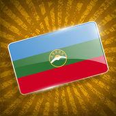 Flag of Karachay-Cherkessia Republic, Russia with old texture. Vector — Stock Vector