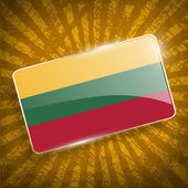 Flag of Lithuania with old texture. Vector — Stock Vector
