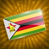Flag of Zimbabwe with old texture. Vector — Stock Vector