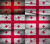 Flag of Georgia with old texture. Vector — Stockvektor