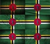 Bandeira da Dominica com textura velha. Vector — Vetor de Stock