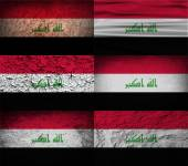 Flag of Iraq with old texture. Vector — Stock Vector