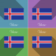 Flags Iceland. Set of colors flat design and long shadows. Vector — Stock Vector #66604961