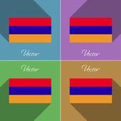 Flags Armenia. Set of colors flat design and long shadows. Vector — Stock Vector