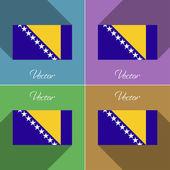 Flags Bosnia and Herzegovina. Set of colors flat design long shadows. Vector — Stock Vector