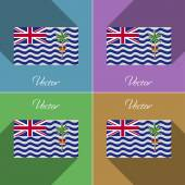 Flags British Indian Ocean Territory. Set of colors flat design and long shadows. Vector — Cтоковый вектор