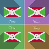 Flags Burundi. Set of colors flat design and long shadows. Vector — Stock Vector