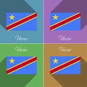 Flags Congo Democratic Republic. Set of colors flat design and long shadows. Vector — Stock Vector