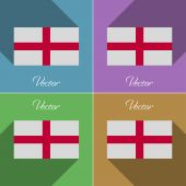 Flags England. Set of colors flat design and long shadows. Vector — Stock Vector