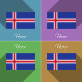 Flags Iceland. Set of colors flat design and long shadows. Vector — Stock Vector