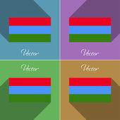 Flags Karelia. Set of colors flat design and long shadows. Vector — Stock Vector
