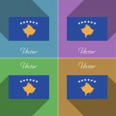 Flags Kosovo. Set of colors flat design and long shadows. Vector — Stock Vector