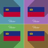 Flags Liechtenstein. Set of colors flat design and long shadows. Vector — Stock Vector