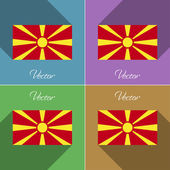 Flags Macedonia. Set of colors flat design and long shadows. Vector — Stock Vector