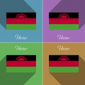 Flags Malawi. Set of colors flat design and long shadows. Vector — Stock Vector
