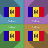 Flags Moldova. Set of colors flat design and long shadows. Vector — Vettoriale Stock