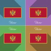 Flags Montenegro. Set of colors flat design and long shadows. Vector — Stock Vector