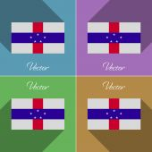Flags Netherlands Antilles. Set of colors flat design and long shadows. Vector — Stock Vector