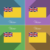 Flags Niue. Set of colors flat design and long shadows. Vector — Stock Vector