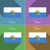 Flags San Marino. Set of colors flat design and long shadows. Vector — Stock Vector