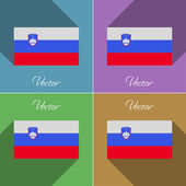 Flags Slovenia. Set of colors flat design and long shadows. Vector — Stock Vector