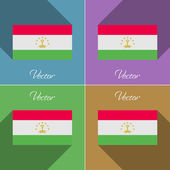 Flags Tajikistan. Set of colors flat design and long shadows. Vector — Stock Vector