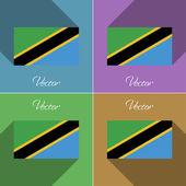 Flags Tanzania. Set of colors flat design and long shadows. Vector — Stock Vector