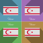 Flags Turkish Northern Cyprus. Set of colors flat design and long shadows. Vector — Stock Vector