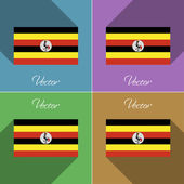 Flags Uganda. Set of colors flat design and long shadows. Vector — Stock Vector