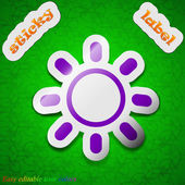 Brightness icon sign. Symbol chic colored sticky label on green background. Vector — Vettoriale Stock