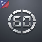 60 second stopwatch icon symbol. 3D style. Trendy, modern design with space for your text Vector — Vetor de Stock