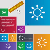 Brightness icon sign. Metro style buttons. Modern interface website buttons with cursor pointer. Vector — Stok Vektör