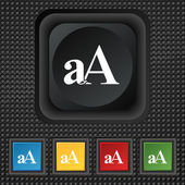 Enlarge font, aA icon sign. symbol Squared colourful buttons on black texture. Vector — Stock Vector