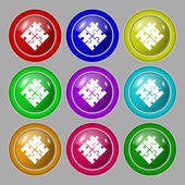 Puzzle piece icon sign. symbol on nine round colourful buttons. Vector — ストックベクタ