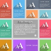 Enlarge font, AA icon sign. Set of multicolored buttons. Metro style with space for text. The Long Shadow Vector — Stock Vector