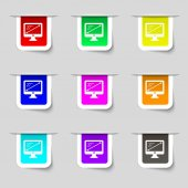 Diagonal of the monitor 27 inches icon sign. Set of multicolored modern labels for your design. Vector — Stock Vector