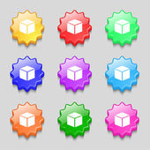3d cube icon sign. symbol on nine wavy colourful buttons. Vector — Stock Vector