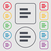 Left-aligned icon sign. symbol on the Round and square buttons with frame. Vector — Stockvektor