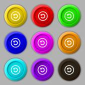 Upgrade, arrow, update icon sign. symbol on nine round colourful buttons. Vector — Vecteur