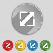 Deploying video, screen size icon sign. Symbol on five flat buttons. Vector — Stock Vector