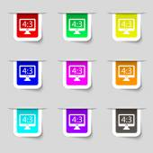 Aspect ratio 4 3 widescreen tv icon sign. Set of multicolored modern labels for your design. Vector — Stock Vector