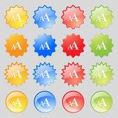 Enlarge font, AA icon sign. Big set of 16 colorful modern buttons for your design. Vector — Stock Vector