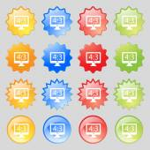 Aspect ratio 4 3 widescreen tv icon sign. Big set of 16 colorful modern buttons for your design. Vector — Stock Vector