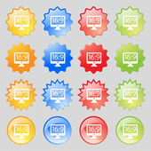 Aspect ratio 16 9 widescreen tv icon sign. Big set of 16 colorful modern buttons for your design. Vector — Stock Vector